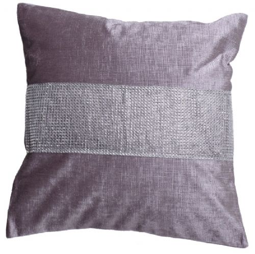 STUNNING DIAMANTE VELVET CUSHION SILVER COLOUR